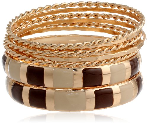 Chamak by priya kakkar Thin Gold Big White, Gold, Brown Enamel Bangle Bracelet Set, 7.5″