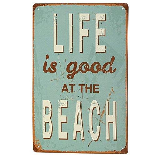 """KING DO WAY Retro Metallschild Blechschild """"LIFE IS GOOD AT THE BEACH"""" Wanddeko 20X30CM"""