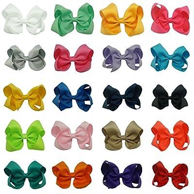 "CN Grosgrain Ribbon Girls Solid Hair Bow 4"" Hair Bows for Hair Pack of 20"