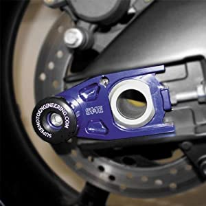 Supermoto Engineering Sport Bike Front Axle and Spool Slider Set - Blue ASL-Y15FS-BLU