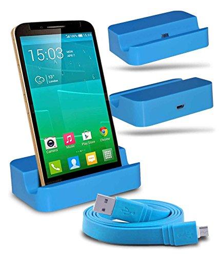 Alcatel Flash Plus + Station d'accueil de bureau avec chargeur Micro USB support de chargement avec Câble USB d'un mètre - Blue - By Gadget Giant®