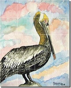 "Pelican II by Derek McCrea - Bird Art Ceramic Tile Mural 30"" x 24"" Kitchen Shower Backsplash"