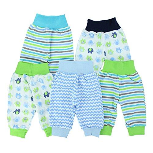 Baby-Hose Pumphose Basic Schlupfhose Jungen 100% Baumwolle Jersey Mädchen Sommerhose im 5er Pack, Farbe: Junge, Größe: 62