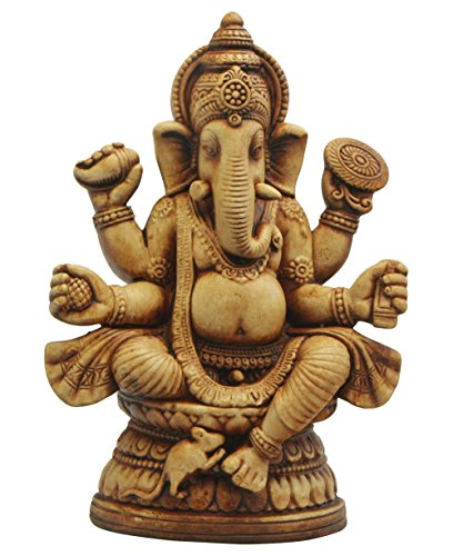 Clay Sitting Ganesha Statue with Organic Finish