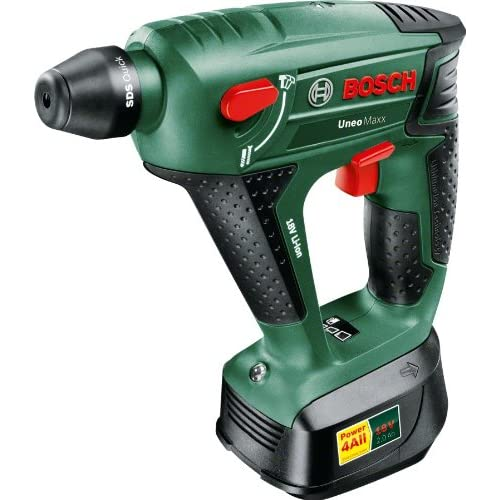 Bosch Uneo Maxx Cordless Lithium-Ion Pneumatic Rotary Hammer with 1 x 18 V Battery, 2.0 Ah