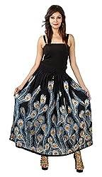 FEMEZONE Skirt Women's Cotton Regular Fit Rayon and Crepe Skirt (black, XXL)
