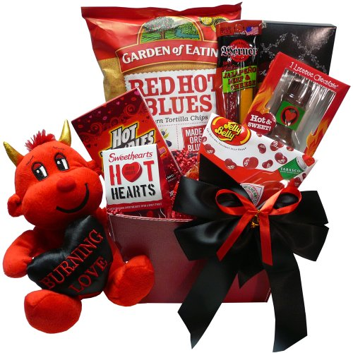You Little Devil! Hot & Sweet Snack Valentine's Gift Basket with Teddy Bear