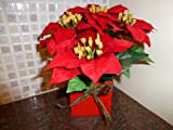 Artificial Plants - Red Poinsettia Christmas Plant in a Pot - Indoor Plant House Office Decoration