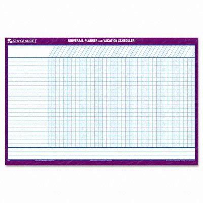 Reversible/erasable undated 12-month vacation schedule wall planner ...
