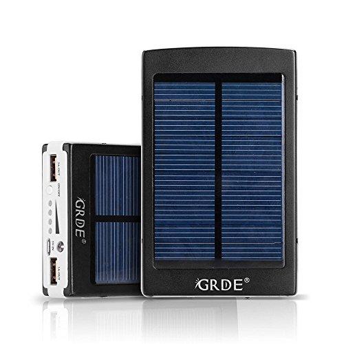 GRDE 10000mAh 大容量モバイルバッテリー   ソーラーチャージャ...