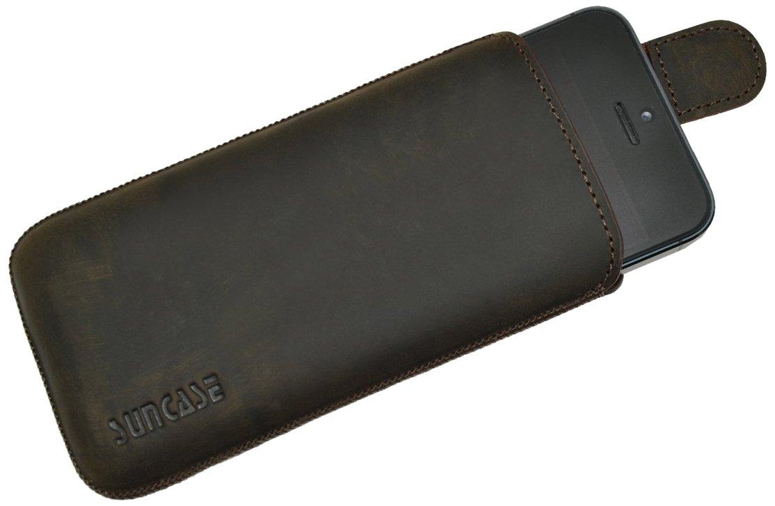 Suncase - Funda de cuero con pestaña para Apple iPhone 5, color marrón - Electrónica Comentarios y más información