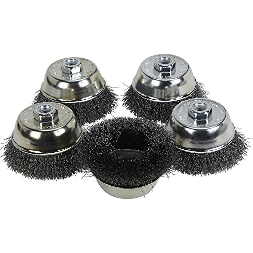 Klutch 4in. Crimped Wire Cup Brushes - 5-Pk.