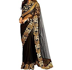 Women's Latest Designer Printed Georgette Saree with Blouse piece By Maahi Fashion (black)