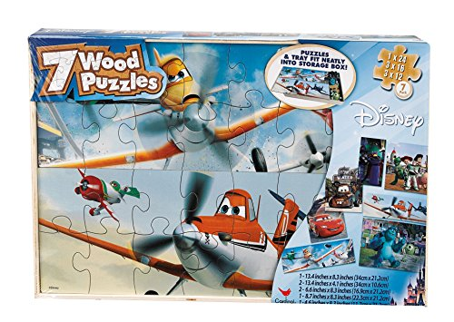 Planes 7 Wood Jigsaw Puzzles in Storage Box (styles may vary)