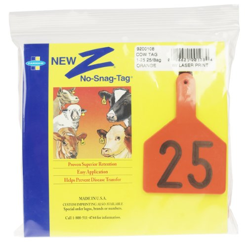 Z Tags 1-Piece Pre-Numbered Laser Print Tags for Cows, Numbers from 126 to 150, Orange