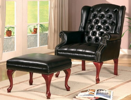 Coaster Home Furnishings Traditional Accent Chair, Cherry/Black front-519681