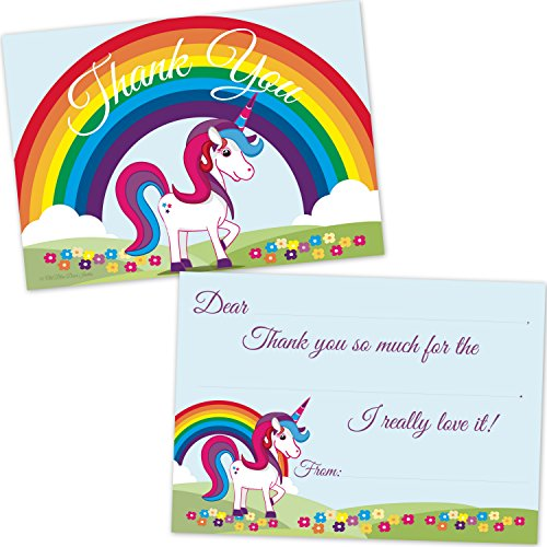 Rainbow-Unicorn-Kids-Birthday-Fill-In-Thank-You-Cards-10-Count-with-Envelopes