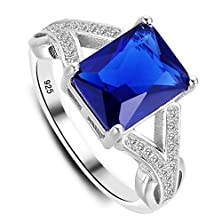 buy Ever Faith 925 Sterling Silver Princess Cut Prongs Cz Sapphire Color Engagement Ring - Size 8