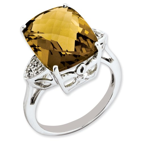 Sterling Silver Whiskey Quartz & Diamond Ring