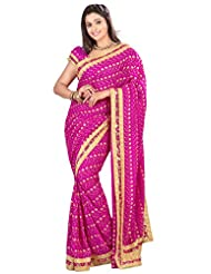 Designer Fabulous Magenta Colored Embroidered Faux Georgette Saree By Triveni