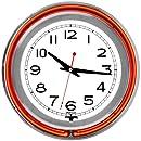 "Trademark Gameroom Orange Chrome Double Ring Neon Clock, 14"""