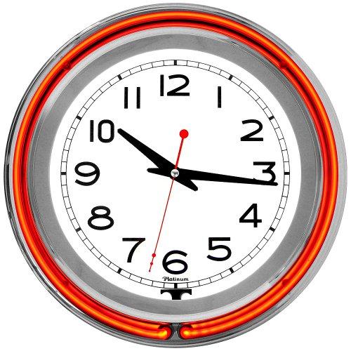 Trademark 14-Inch Double Ring Orange Outer White Inner Neon Clock