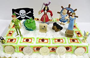 Unique Disney Peter Pan 17 Piece Birthday Cake Topper Set Featuring Peter Pan, Croc, Captain Hook, Smee, Wendy, Tinker Bell, Cannon, Treasure Chest, Map, 6 Pirate Coins, Pirate Flag, and Shipwheel