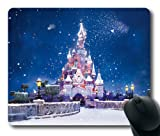 Sakuraelieechyan The Disney Castle With Snow Flying Rectangle Mouse Pad
