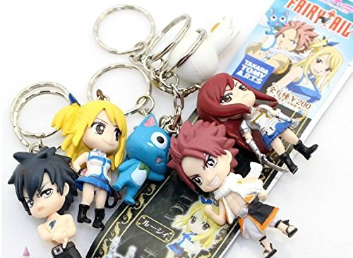 6Pcs/Set Fairy Tail Figure Character Lucy Gray Elza With Keychain Key Ring Pendant PVC Dolls Toys Children Gift 6cm Approx