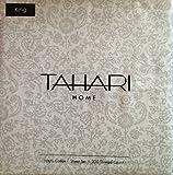Tahari Home Cotton 300 TC Gray White Medallion Floral Print Cotton Sateen Luxury KING Sheet Set