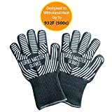 Extreme Heat Resistant Oven Gloves - 932f EN407 Certified Cooking Gloves for BBQ, Grilling by Grill Master Gloves - Long