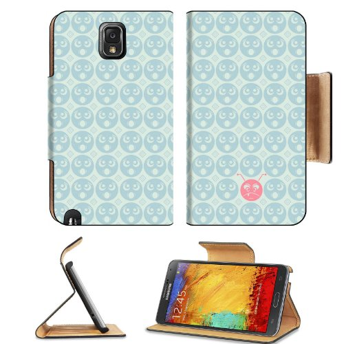 Pattern Round Faces Samsung Galaxy Note 3 N9000 Flip Case Stand Magnetic Cover Open Ports Customized Made To Order Support Ready Premium Deluxe Pu Leather 5 15/16 Inch (150Mm) X 3 1/2 Inch (89Mm) X 9/16 Inch (14Mm) Liil Note Cover Professional Note 3 Case front-767229