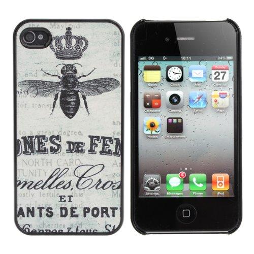 retro matt bee stamp stil hartplastik h lle f r iphone 4 4s. Black Bedroom Furniture Sets. Home Design Ideas