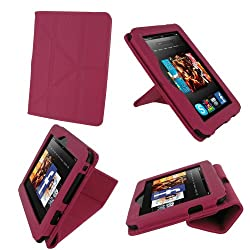 rooCASE Origami Dual-View (Magenta) Vegan Leather Folio Case Cover for Amazon Kindle Fire HD 7 Inch Tablet  - Support Landscape / Portrait / Typing Stand / Auto Sleep and Wake
