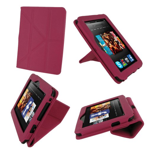 rooCASE Origami Dual-View (Magenta) Vegan Leather