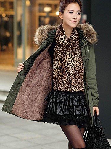 Finejo Women Thicken Fleece Winter Warm Parka Faux Fur Jacket Hooded Coat