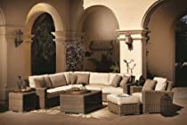 Hot Sale Coronado Resin Wicker Outdoor Seating Set Patio Sectional Sofa Furniture w/ Sunbrella Cushions