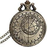 FACILLA® Montre à Gousset Quartz Alliage Bronze avec Couvercle Collier Chaîne Pendentif