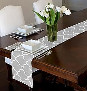 Amazon Com Grey Amp White Trellis Table Runner Mat Topper