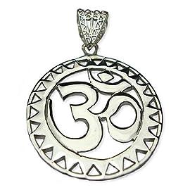 OM Ohm AUM Yoga Sterling Silver Sun Pendant - Extra Large