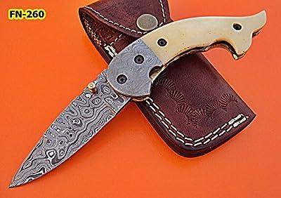 FN-260 Custom Handmade Damascus Steel Folding Knife- Beautiful White Bone Handle with Damascus Steel Bolster