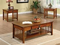 Hot Sale Seville 3pc Occasional Table Set in Antique Oak by Furniture of America
