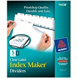 Avery Index Maker Clear Label Dividers with Easy Apply Label Strip, White Tabs, 5 Tabs per Set, 5 Sets per Pack (11436)
