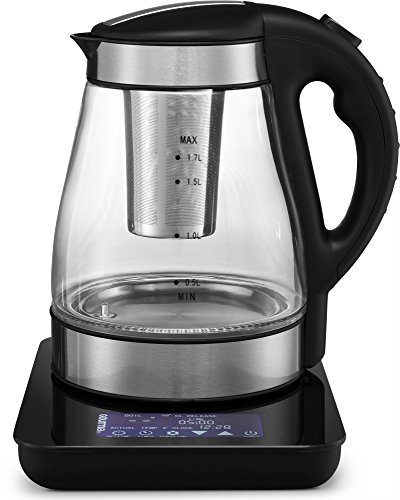 Gourmia GDK380 Multi Function Digital Tea Kettle, Programmable Touch Screen Time & Temperature with Real Time Digital Water Boil Monitor, Glass, With Tea Infuser 2 Quarts