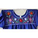 XL 2X Hand Embroidered Mexican Peasant Hippie Boho Blouse Plus Size Blue