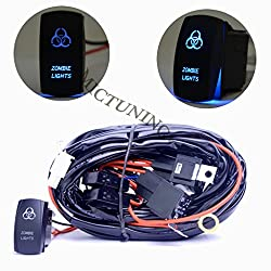 See mictuning HD 300w led Light Bar Wiring Harness 40Amp Relay ON-OFF-ON Laser zombie light Rocker Switch Blue(2Lead 14ft 16AWG) Details
