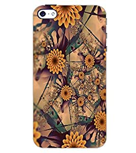 PrintDhaba FLOWER PATTERN D-6647 Back Case Cover for APPLE IPHONE 5 (Multi-Coloured)