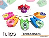BOBBIN HOLDER / CLAMP, 'TULIPS ...Keep thread tails under control' (12 Pieces), Ergonomic Bobbin Organizer and Holder. Fits bobbins Type L, Class A, Bernina 7,8 Series. By Smartneedle.