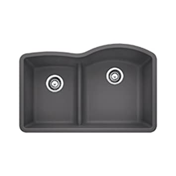 Blanco 441600 Diamond 1.75 Low Divide Under Mount Reverse Kitchen Sink, Large, Cinder
