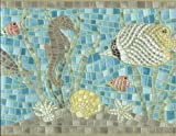 Wallpaper Border Cushion Textured Mosaic Tile Ocean Fish Seahorse Dolphin Turtle